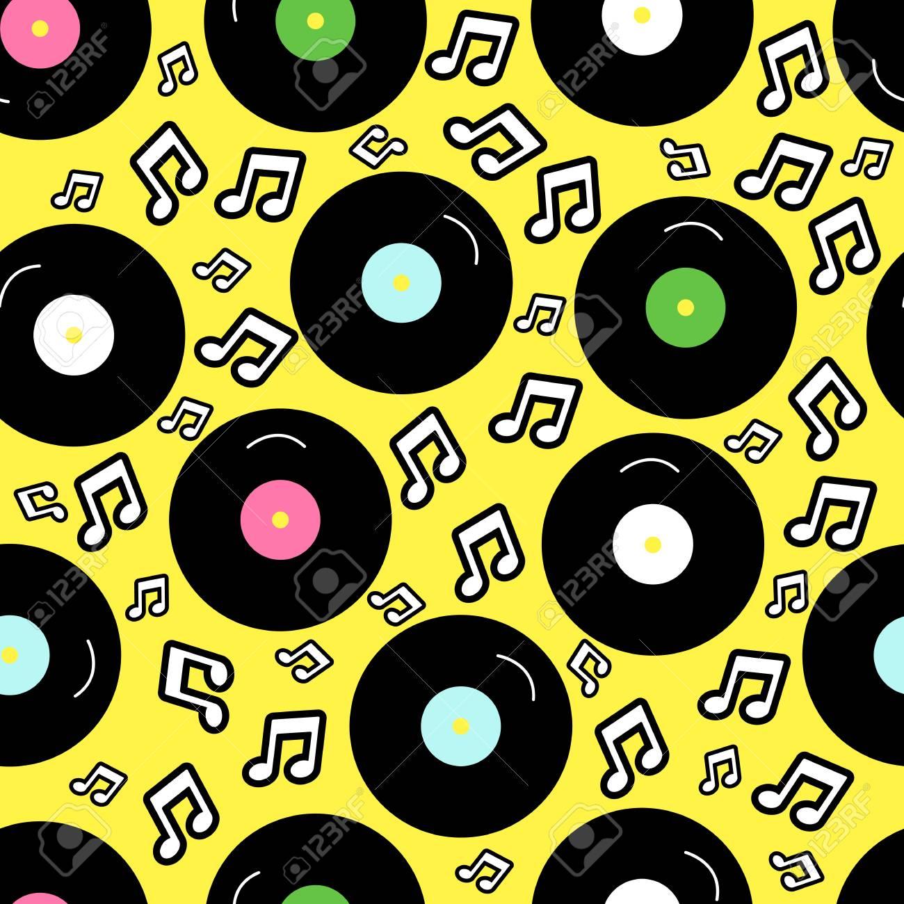 80s Nostalgia Style Vintage Retro Vector Fashion Seamless Background Pattern With Vinyl Record