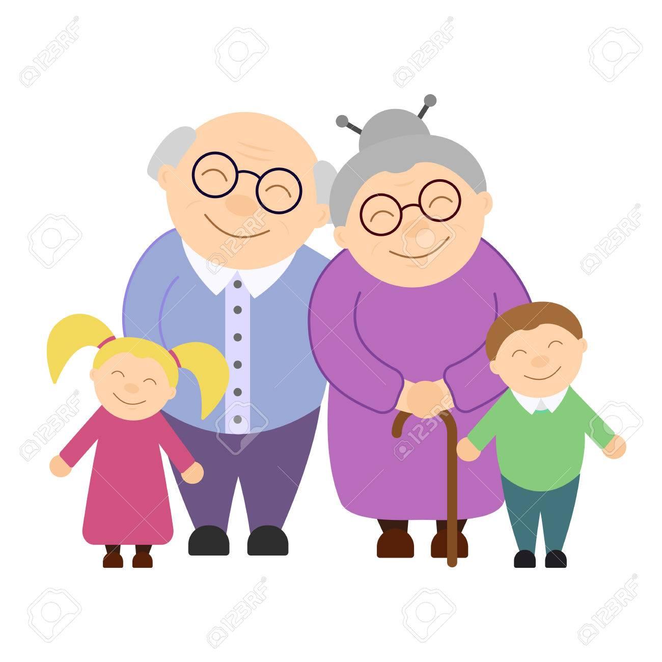 Cute grandparents with grandchildren - 84437705
