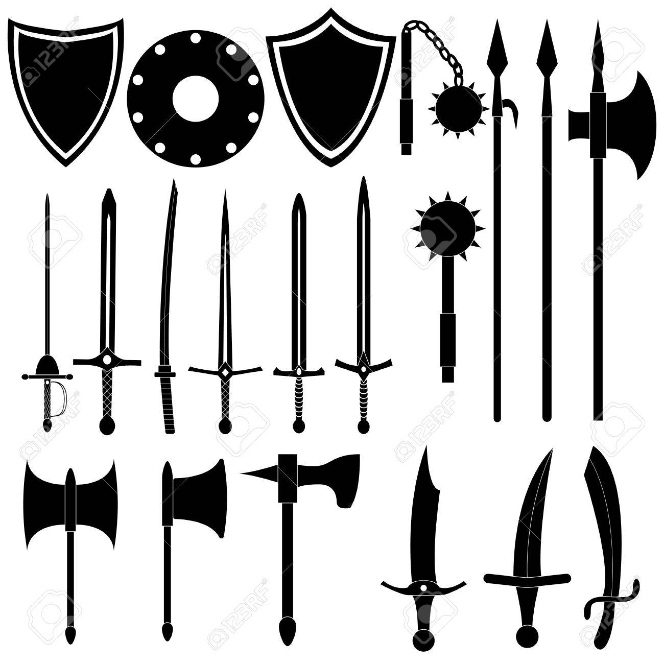 Large collection of medieval weapons  Antique swords, axes, spears