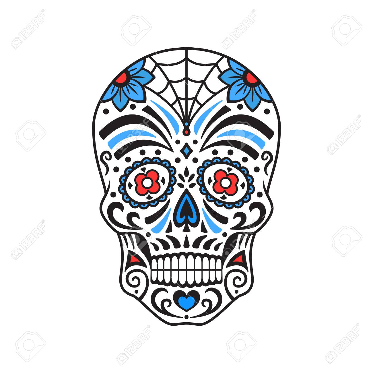 - Sugar Skull. Colorful Tattoo. Mexican Day Of The Dead. Vector