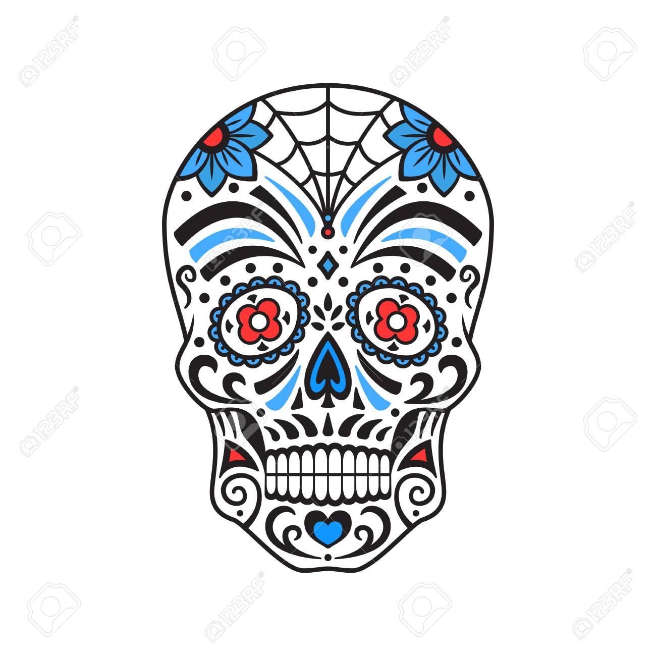 Zuckerschädel. Bunte Tätowierung. Mexikanischer Tag Der Toten ...