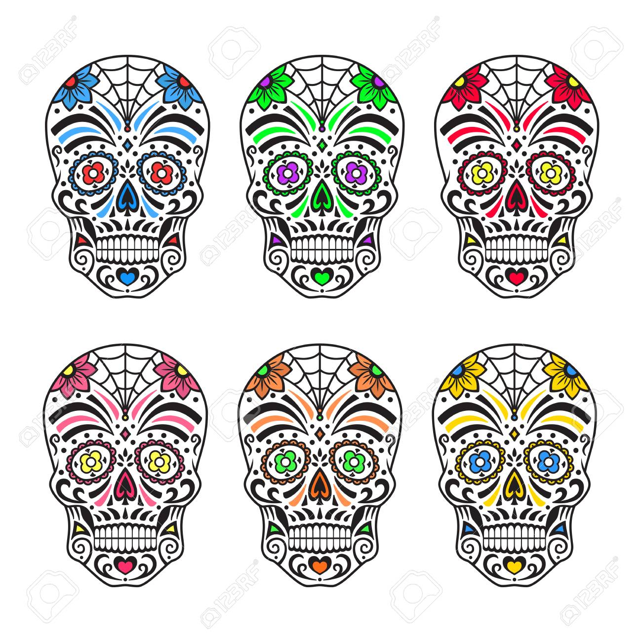 sugar skulls set colorful tattoos mexican day of the dead