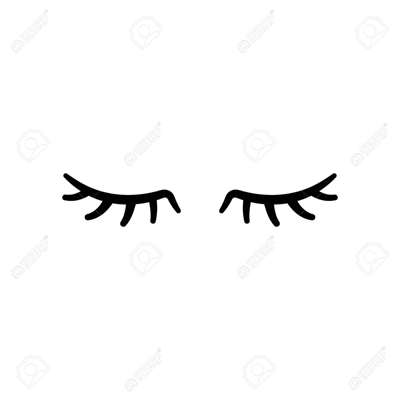 Vector eyelashes. Closed eyes. Vector icon Cute design - 91244277
