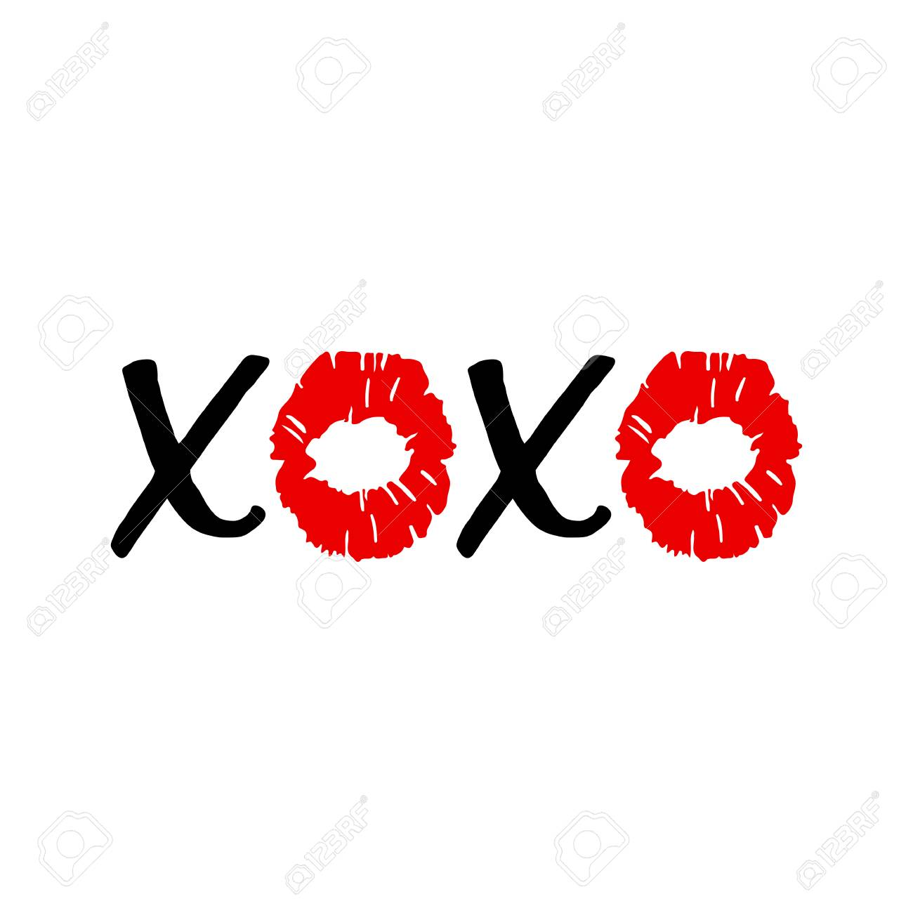 Xoxo Hugs And Kisses Lip Kiss Red Female Lips Valentines