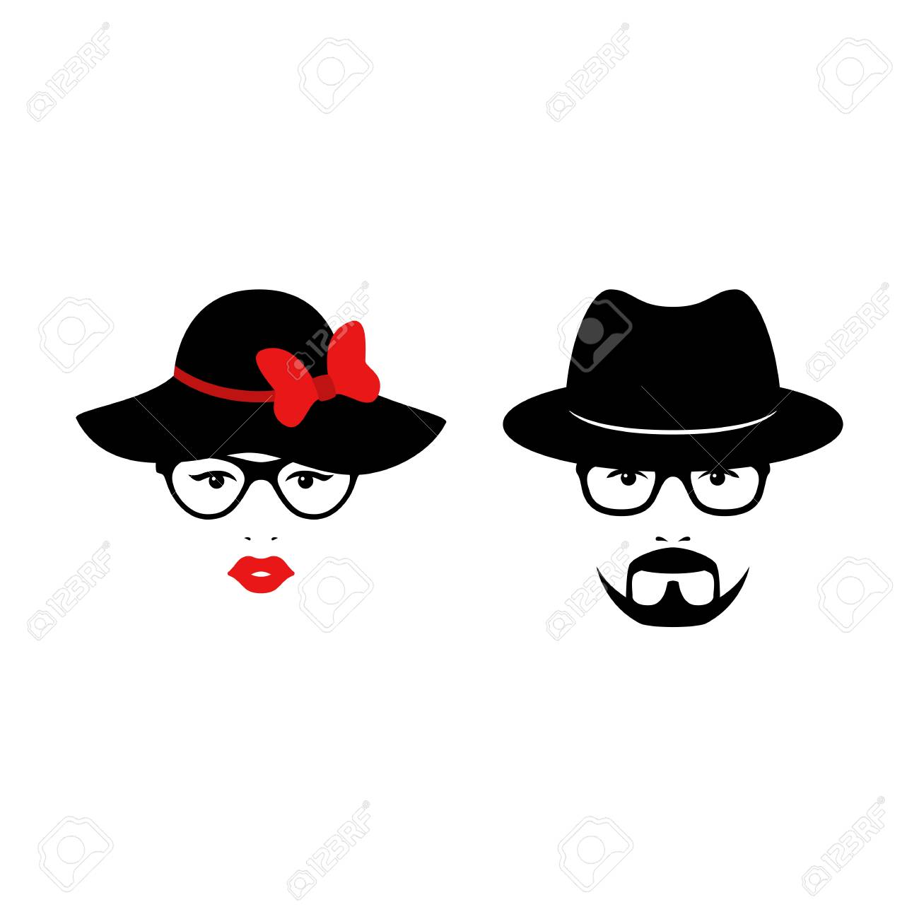 Retro couple with glasses anh hats. Woman and man faces. Wedding concept.  Vector 1d3e1308e2c