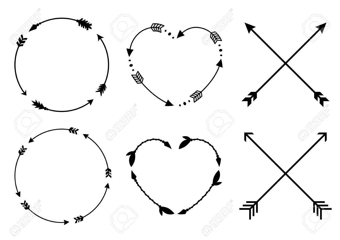 Circle And Heart Arrow Frames For Monograms Crisscross Hipster Arrows In Boho Style