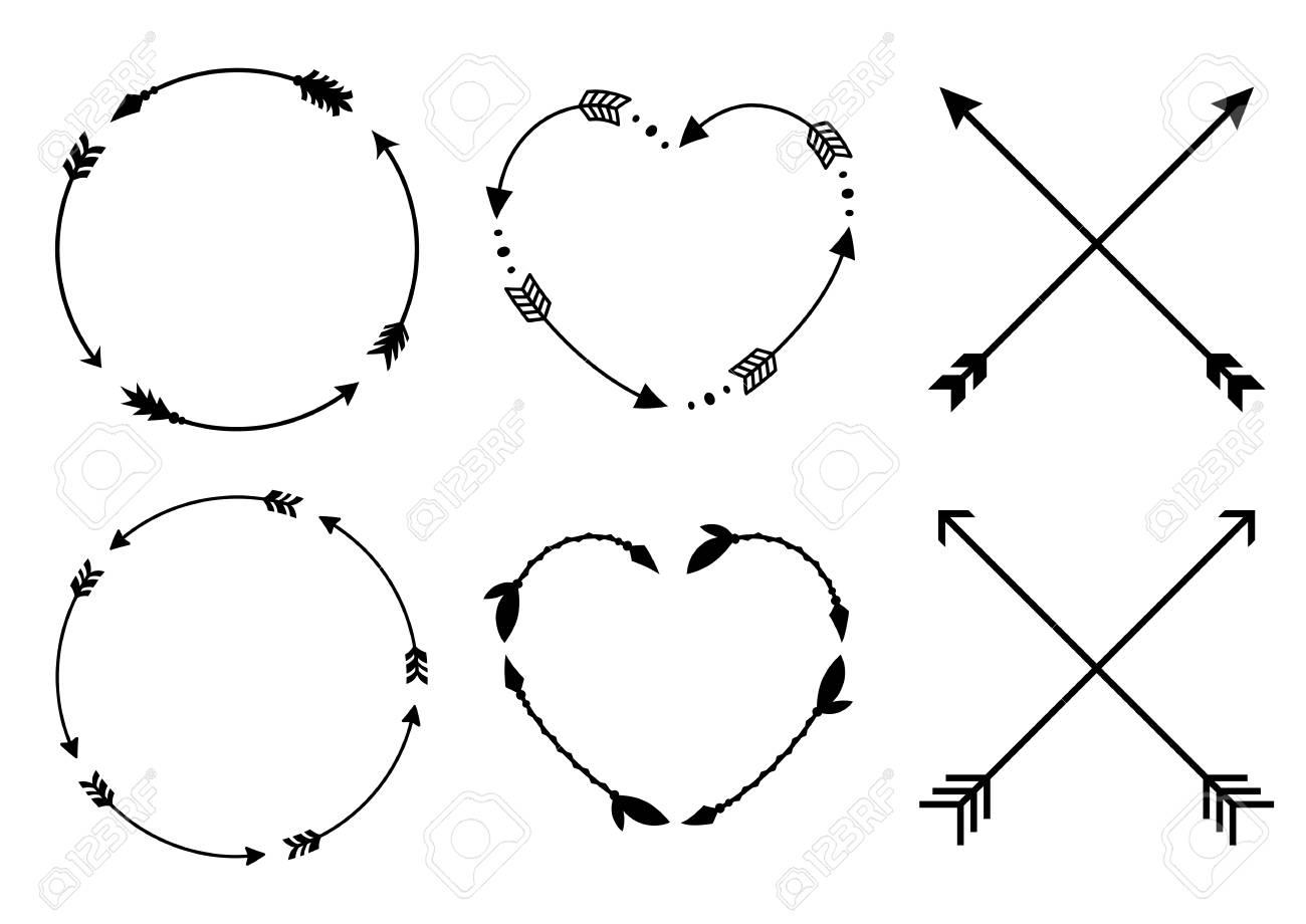 Circle and heart arrow frames for monograms. Crisscross hipster arrows. Arrows in boho style. Tribal arrows set. Vector collection. - 96905884