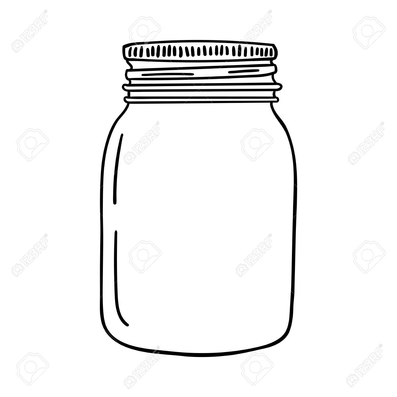 Hand drawn mason jar. Contour sketch vector illustration. - 97624290
