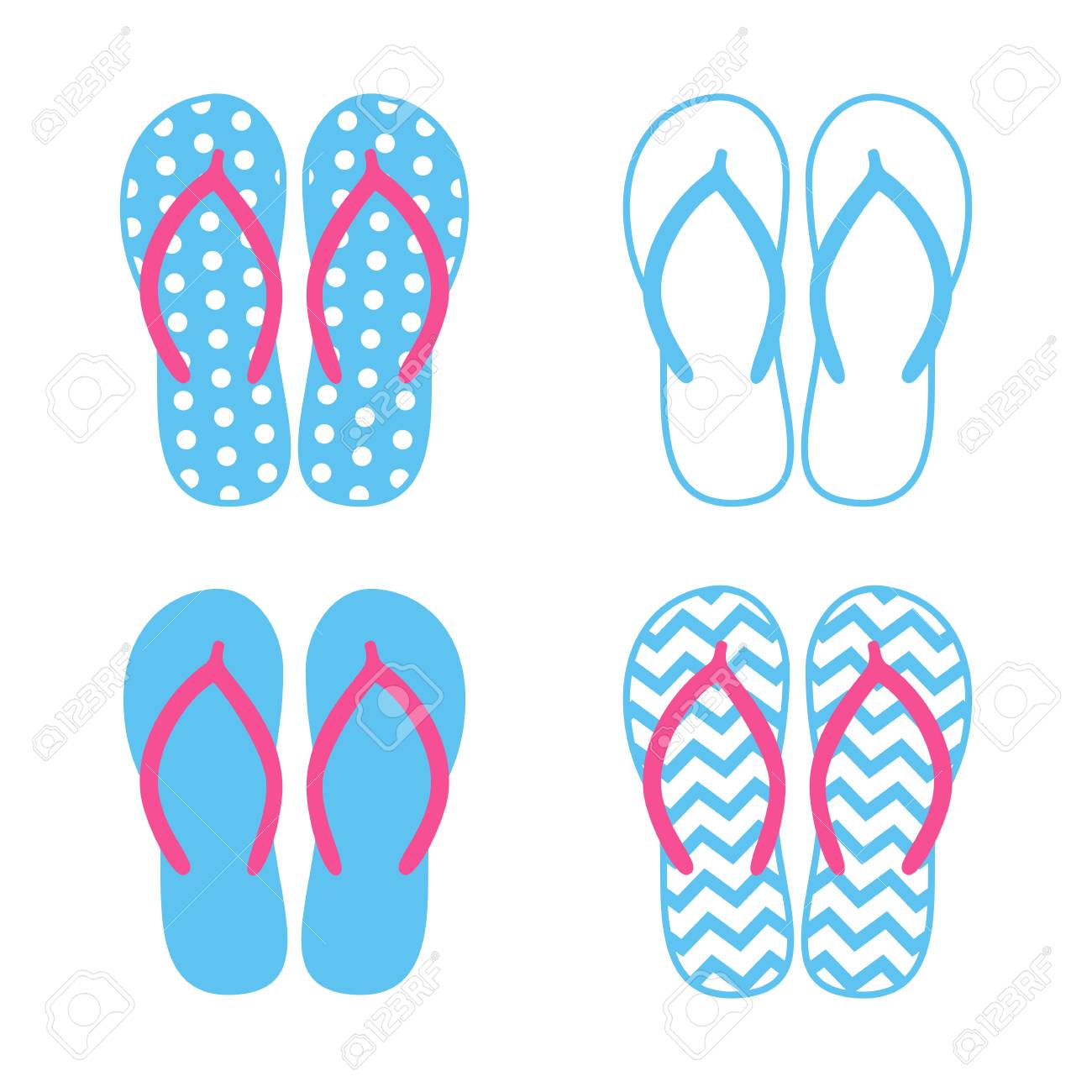 c6f2cc6afdb42d Colorful flip flops. Beach slippers. Sandals. Vector icon isolated on white  background.