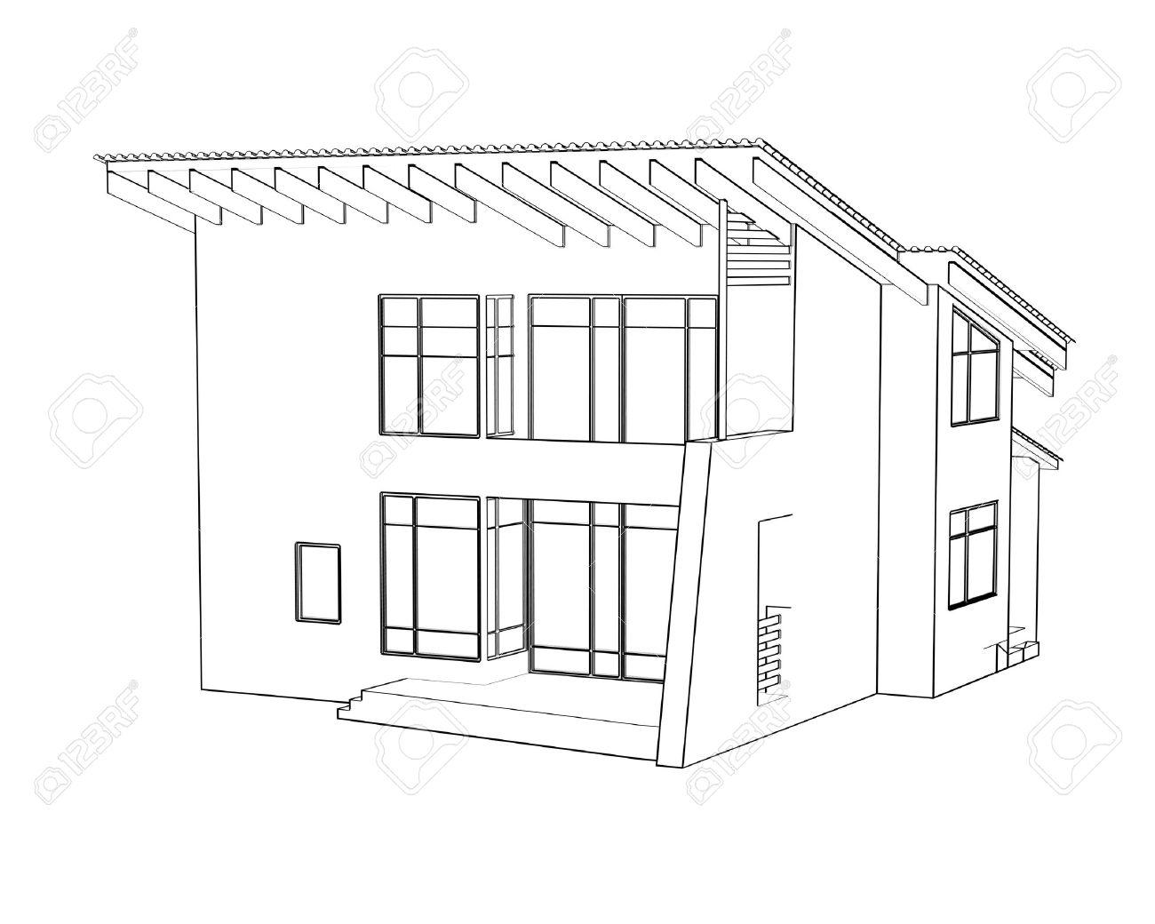 Banque Dimages Dessin Darchitecture à La Maison Dans La Perspective Cuisine  Plan Architecture