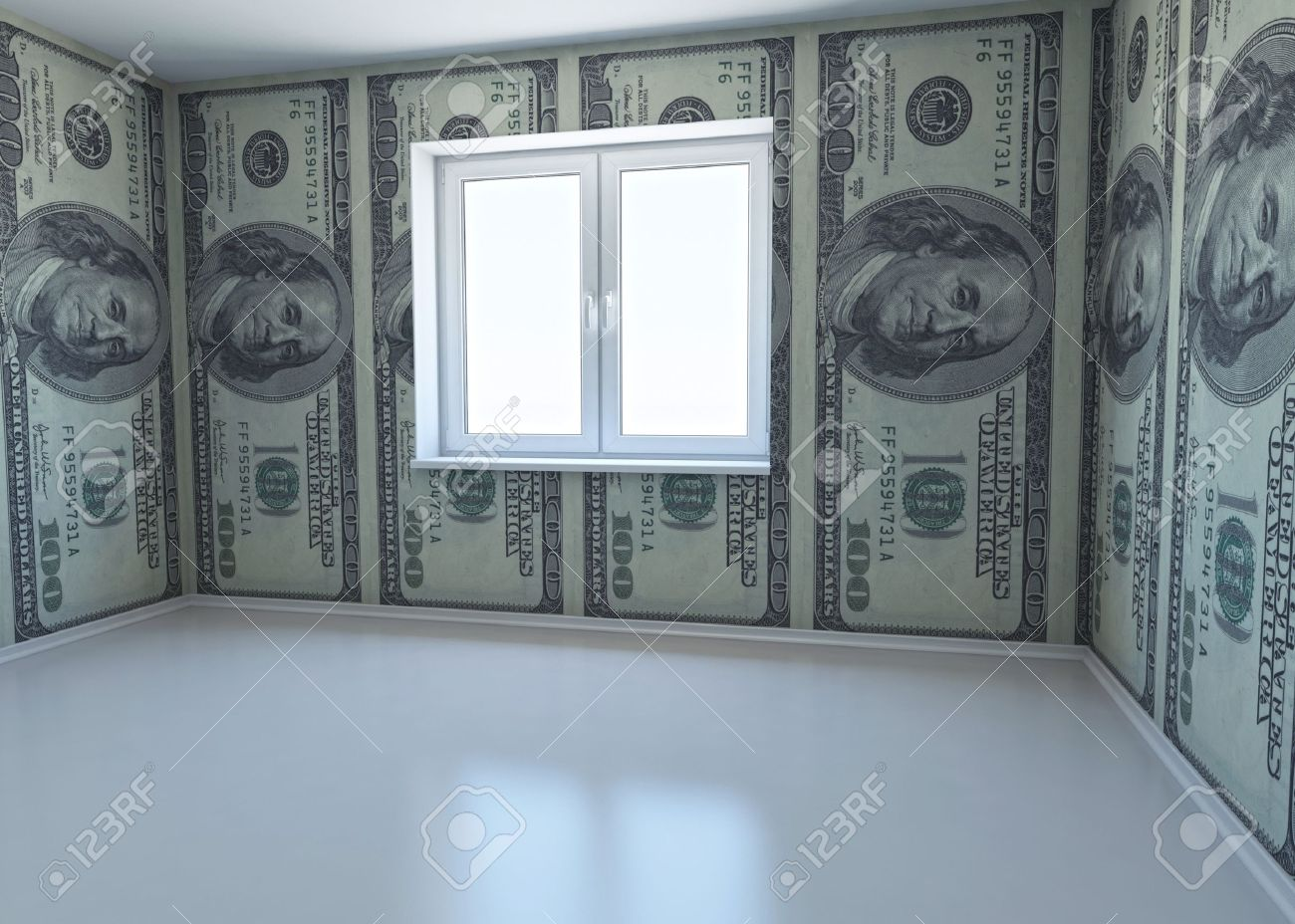 wallpaper patterned dollar as a symbol - the money for repairs 3d rendering  Stock Photo -