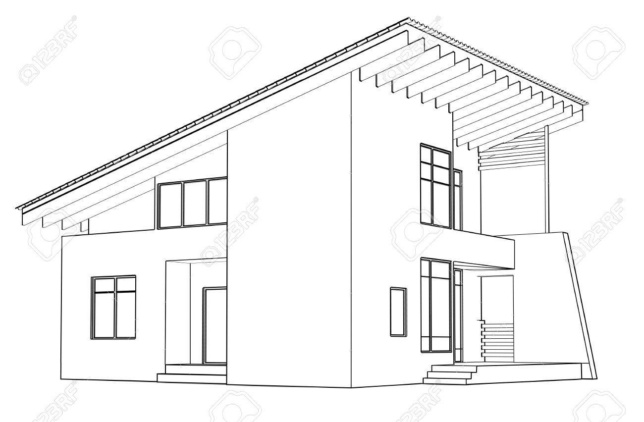 Dessin D Architecture A La Maison Dans La Perspective Banque D Images Et Photos Libres De Droits Image 10337393