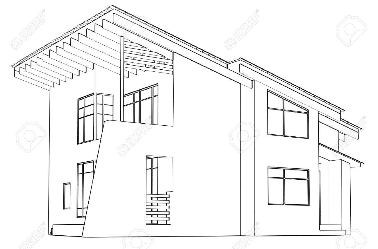Banque Du0027images   Dessin Du0027architecture à La Maison, Dans La Perspective