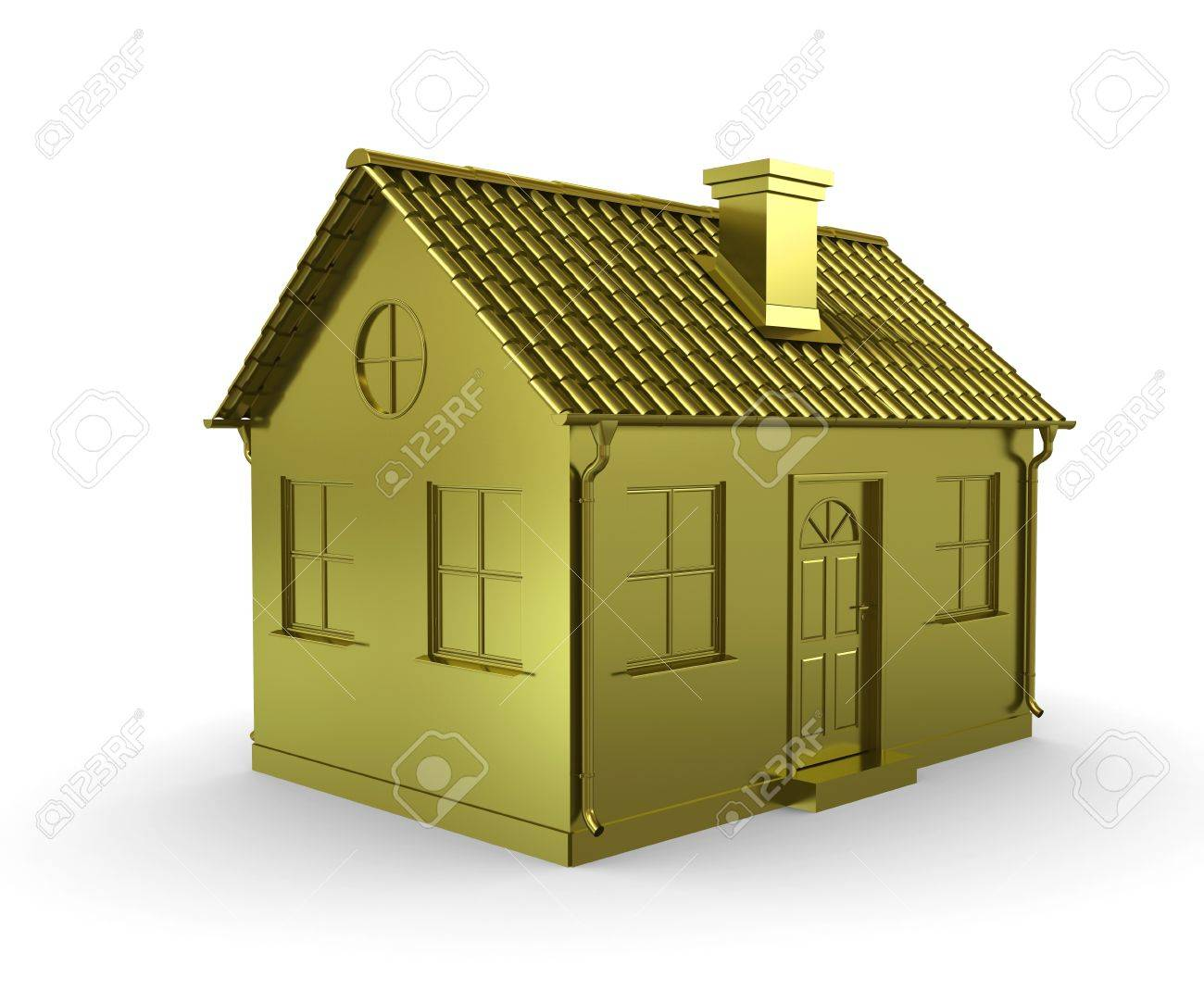 Golden House On A White Background Stock Photo   10355278