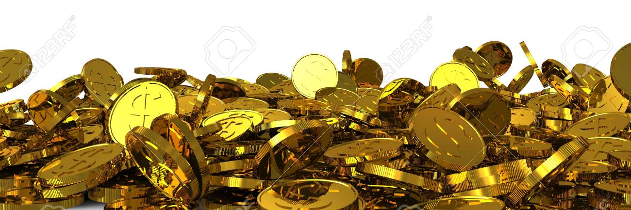 Falling gold dollar coins. 3D rendering Stock Photo - 12362657