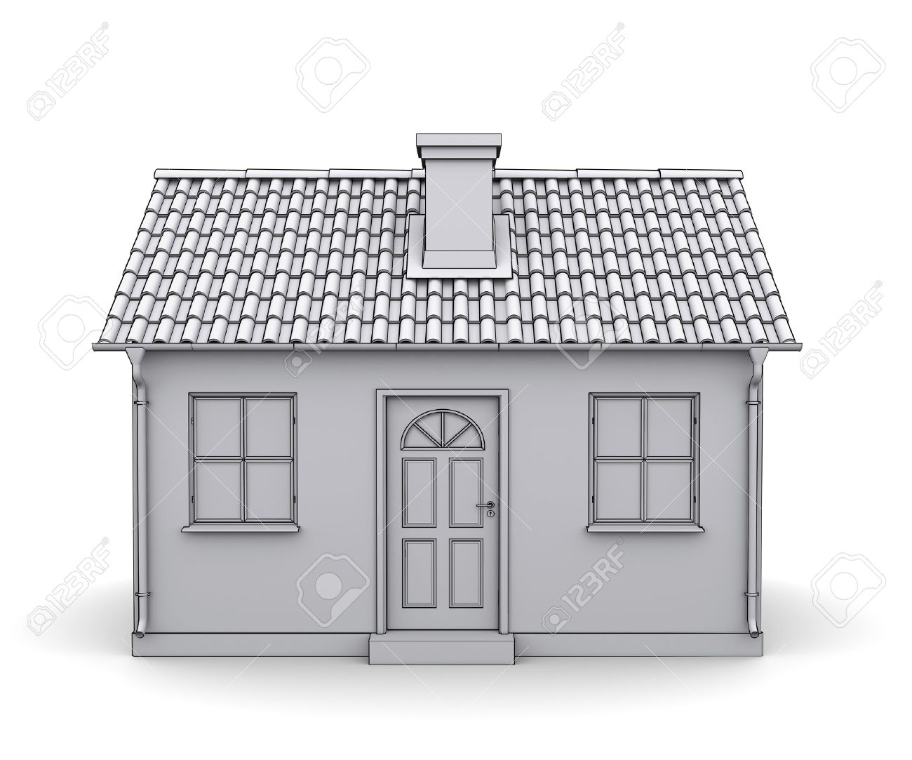 Frame House 3d Model Of A White Stock Photo, Picture And Royalty ...