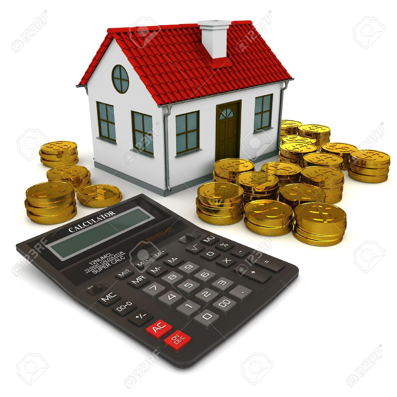 House with red roof, calculator, stack of gold coins dollar. 3d rendering Stock Photo - 13010717