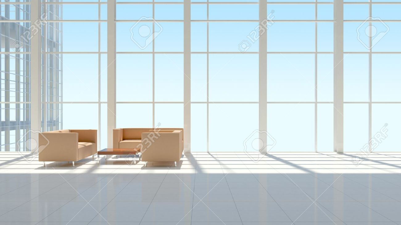 The Interior Of An Office Building The Blue Sky Background Stock
