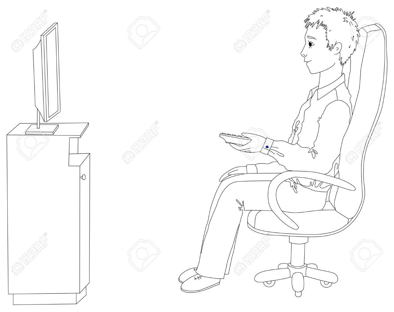Man sitting in chair drawing - Young Man Sitting In A Chair And Watching Tv Stock Vector 15477258