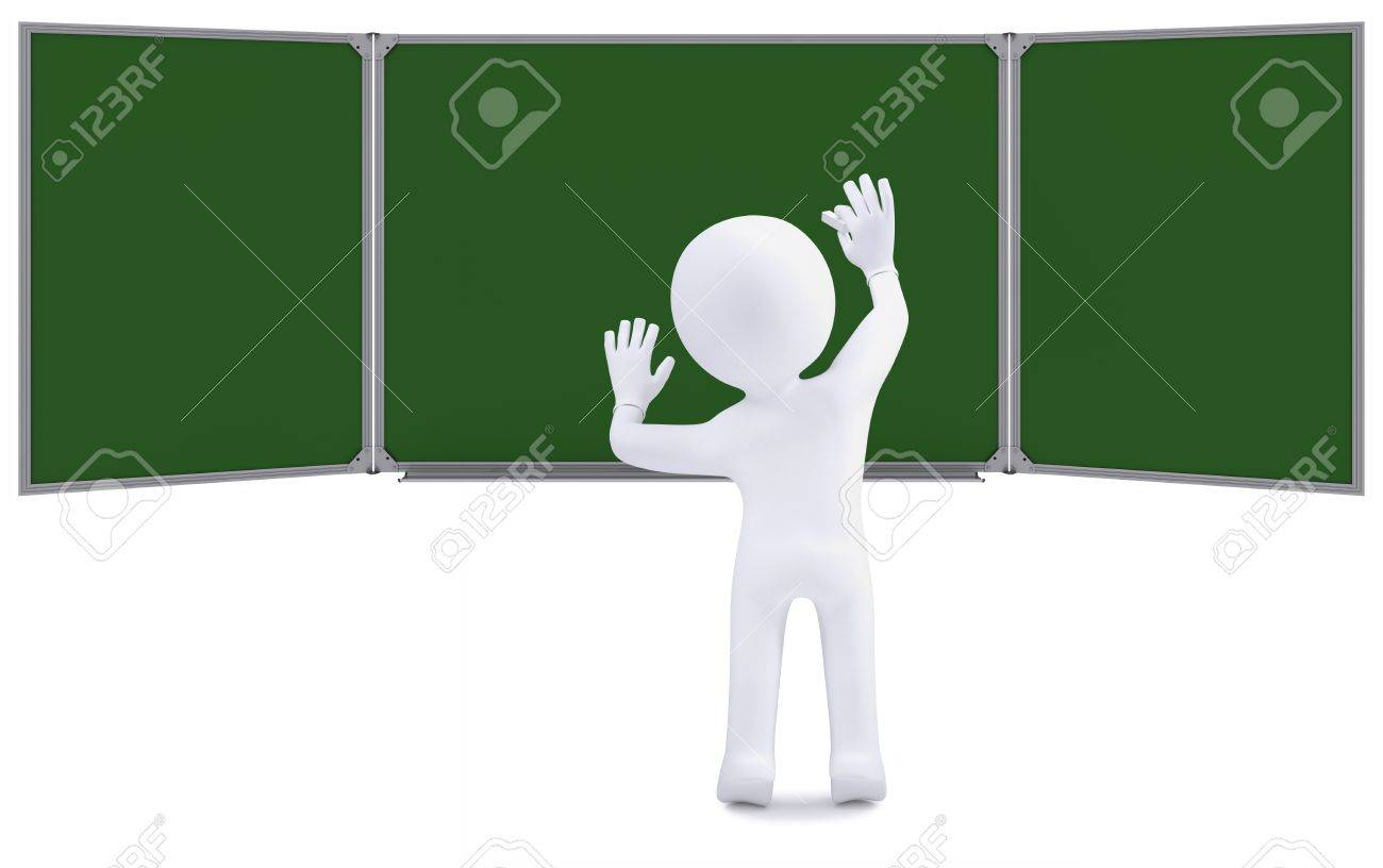 3d human writing with chalk on a green board  Isolated on white background Stock Photo - 16201719