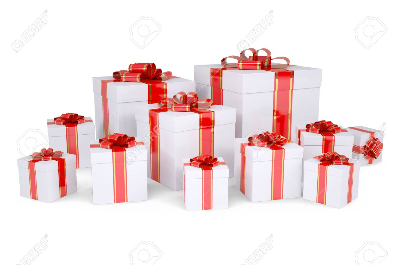 Many boxes of gifts decorated with red ribbons  Isolated render on a white background Stock Photo - 16904892