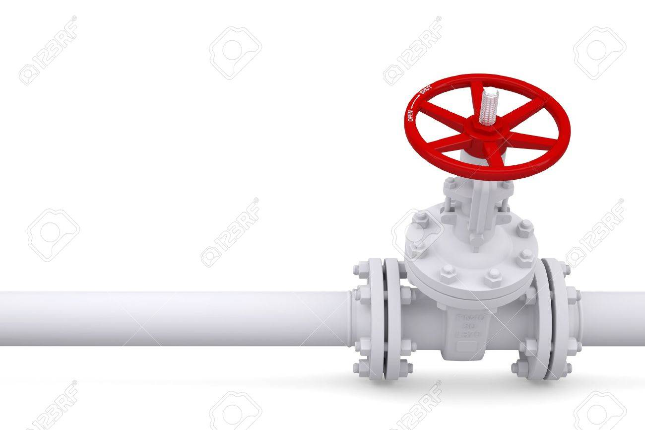 Valve on the pipeline  Isolated render on a white background Stock Photo - 16957679