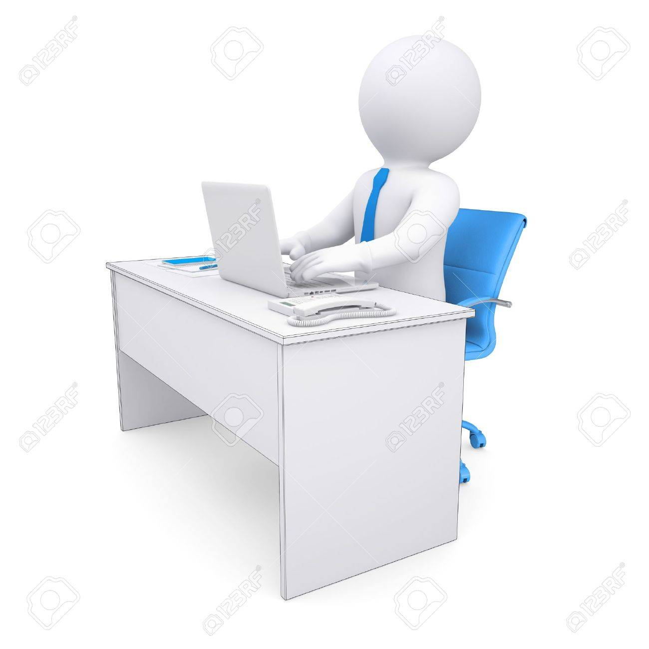 3d white human sitting at a table  Working at a laptop  Isolated render on a white background Stock Photo - 17002807