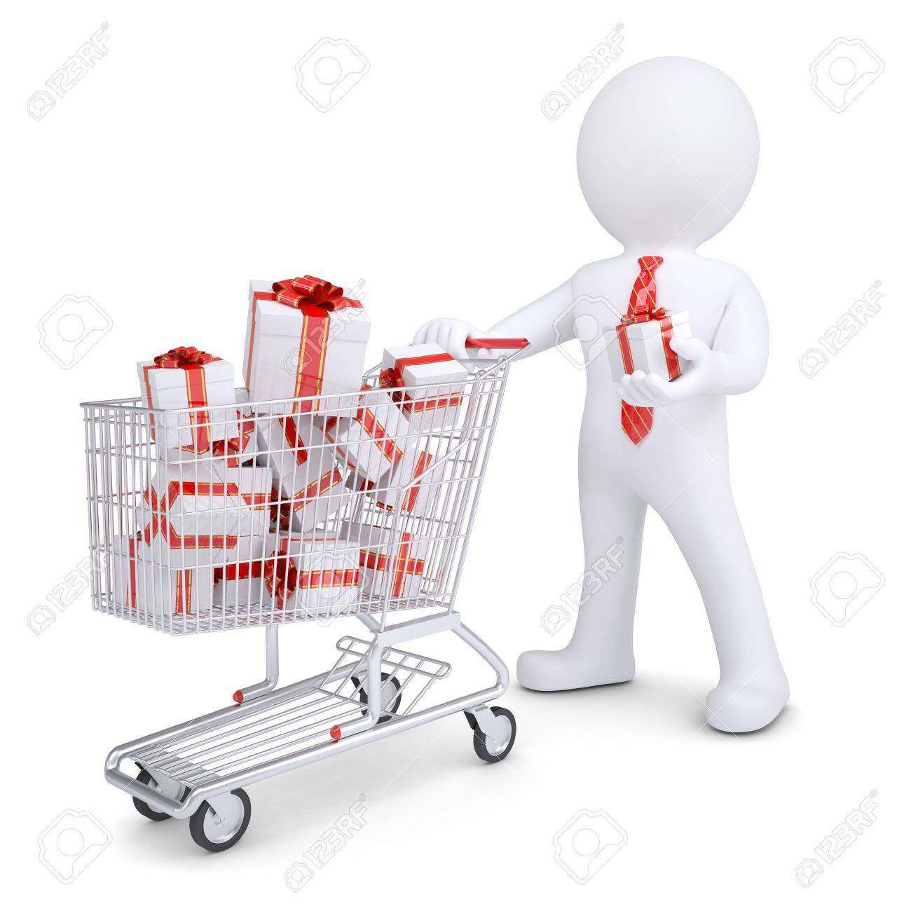 3d white man with a cart of gifts. Isolated render on a white background Stock Photo - 17031923