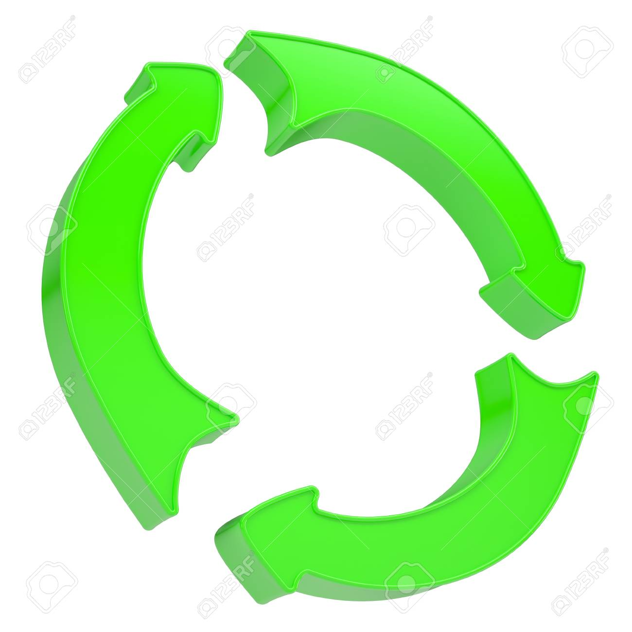 Three green arrows rotating around  Isolated render on a white background Stock Photo - 17031914