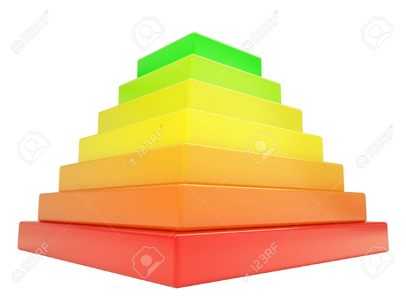 Pyramid of colored cubes. Isolated render on a white background Stock Photo - 17188055