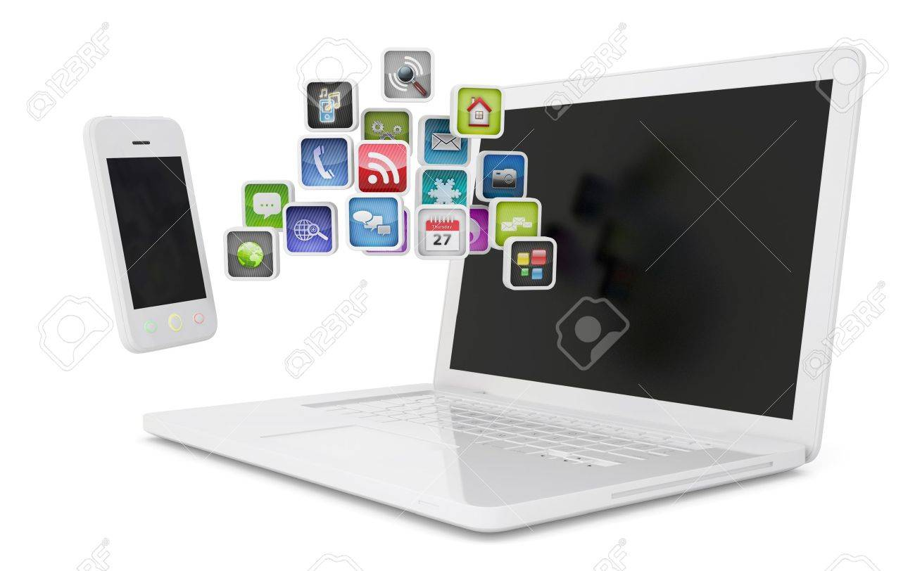 White laptop and smartphone communicate  Isolated render on a white background Stock Photo - 17304447