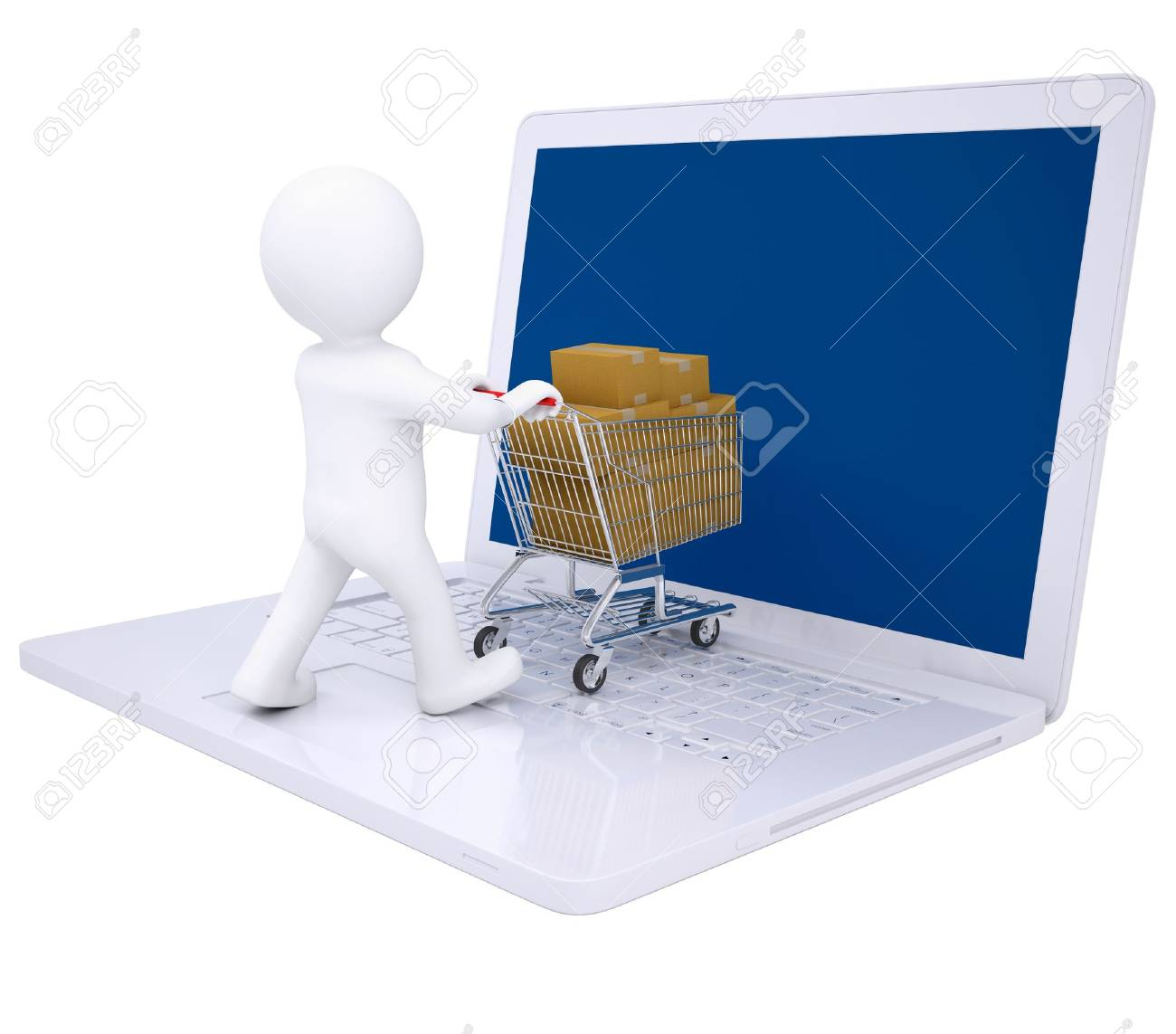 3d man sells online  Isolated render on a white background Stock Photo - 18011635