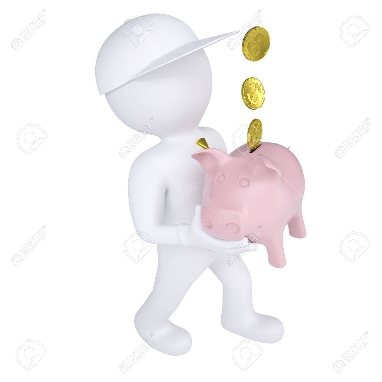 3d white man holding a piggy bank  Isolated render on a white background Stock Photo - 18376950