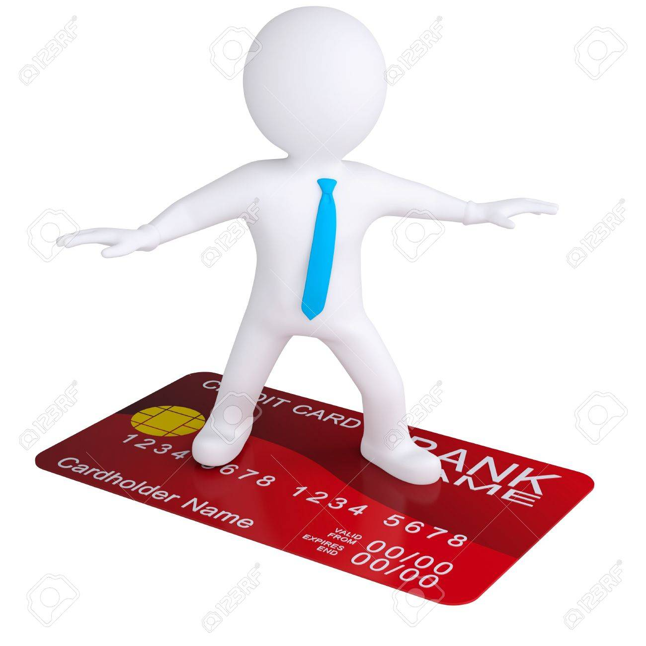 3d white man standing on a credit card  Isolated render on a white background Stock Photo - 18815427