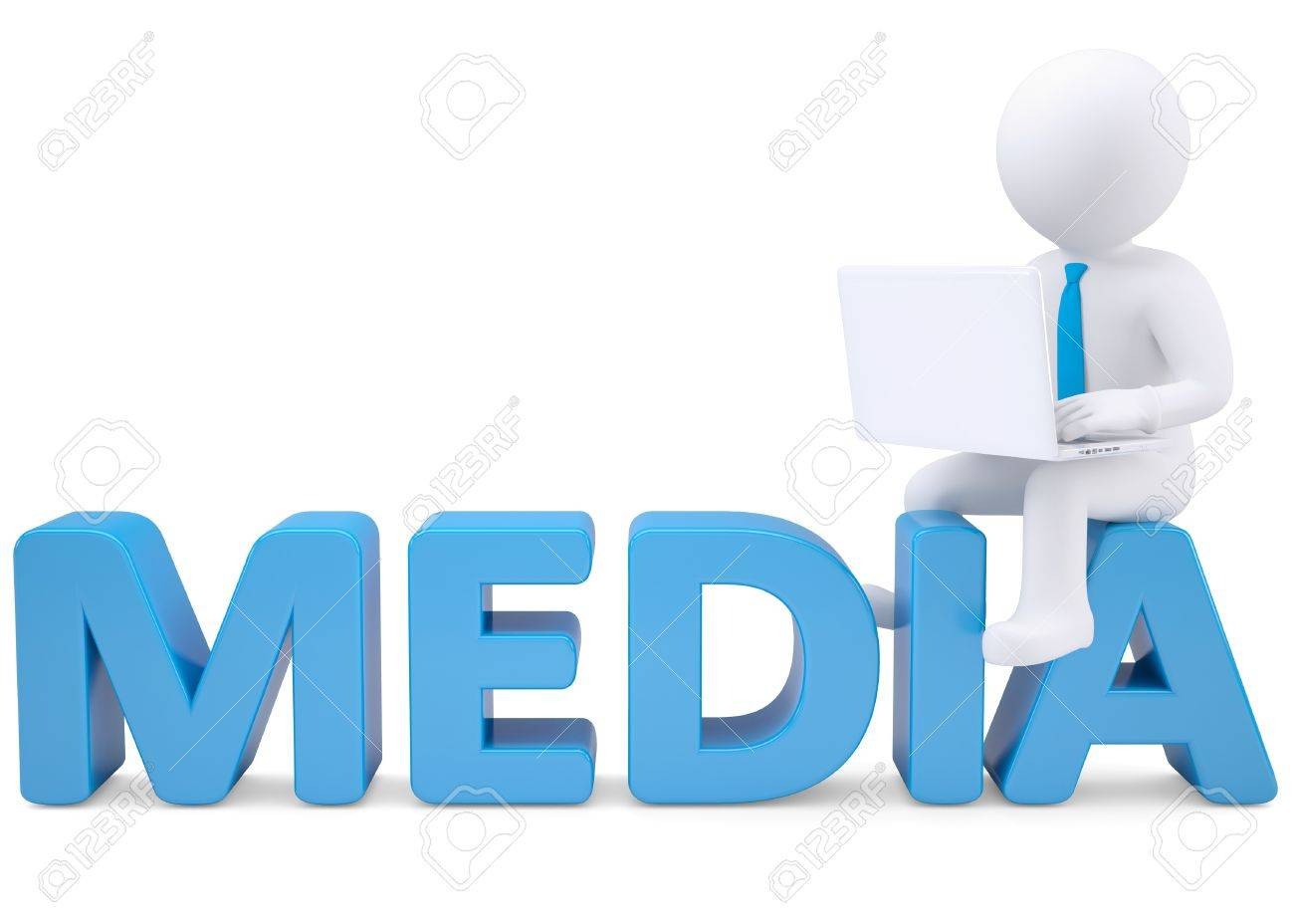 3d white man with laptop sitting on the word MEDIA  Isolated render on a white background Stock Photo - 19011791