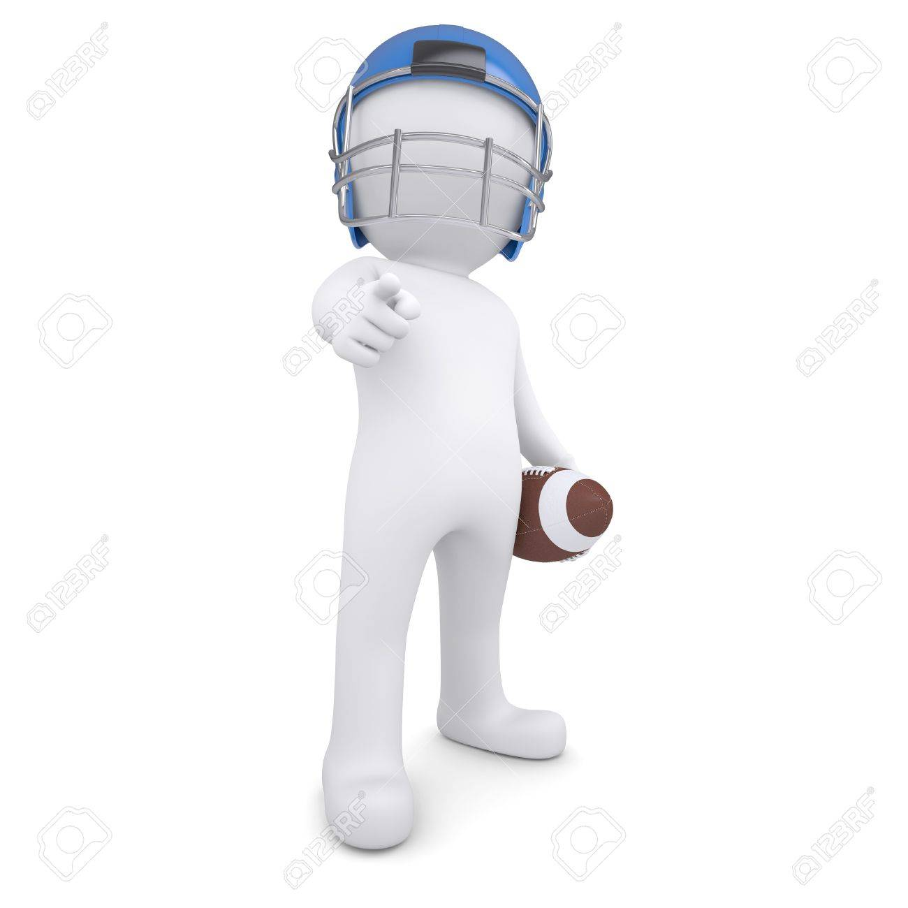 3d man in a football helmet points finger at the viewer  Isolated render on a white background Stock Photo - 19653230