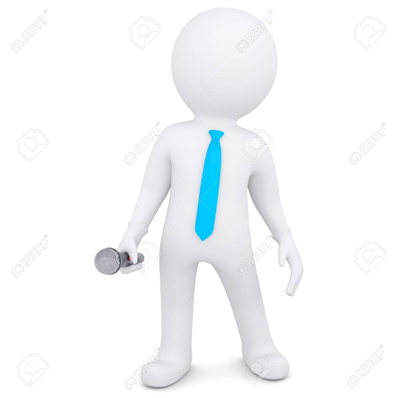 3d white man with a microphone  Isolated render on a white background Stock Photo - 19653493