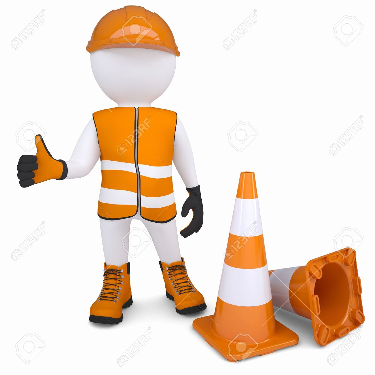 3d Man In Overalls Raised His Thumb Up Isolated Render On A White Background