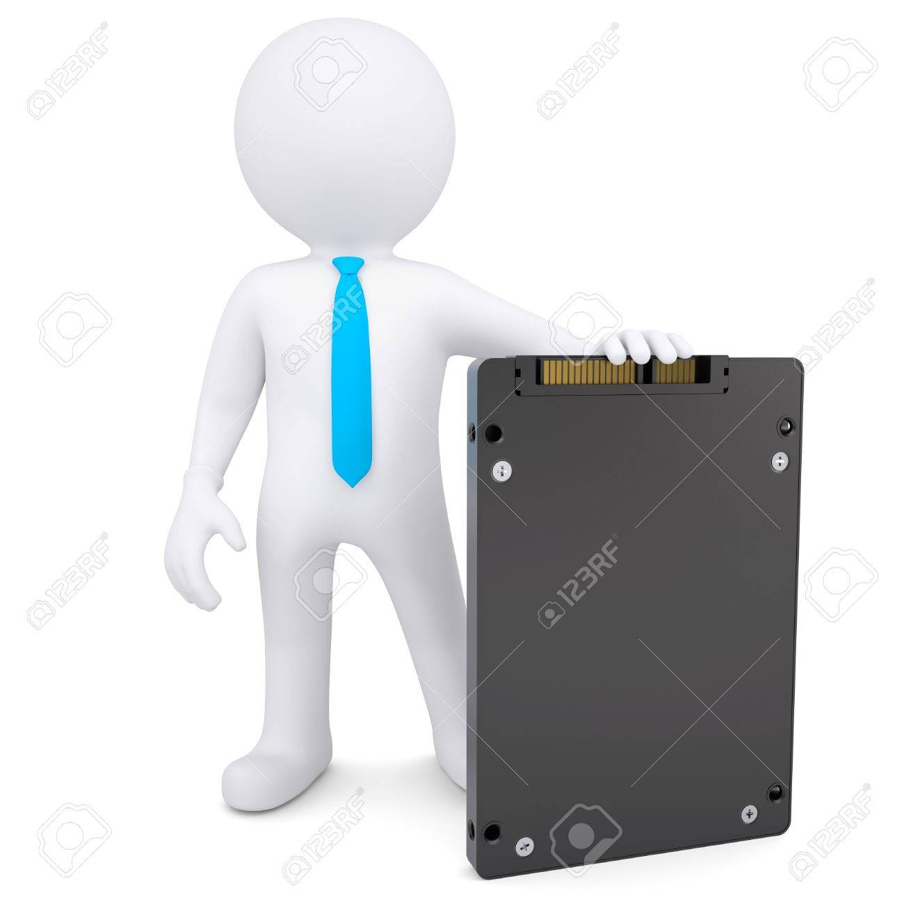 3d white man holding a solid state drive  Isolated render on a white background Stock Photo - 19972042
