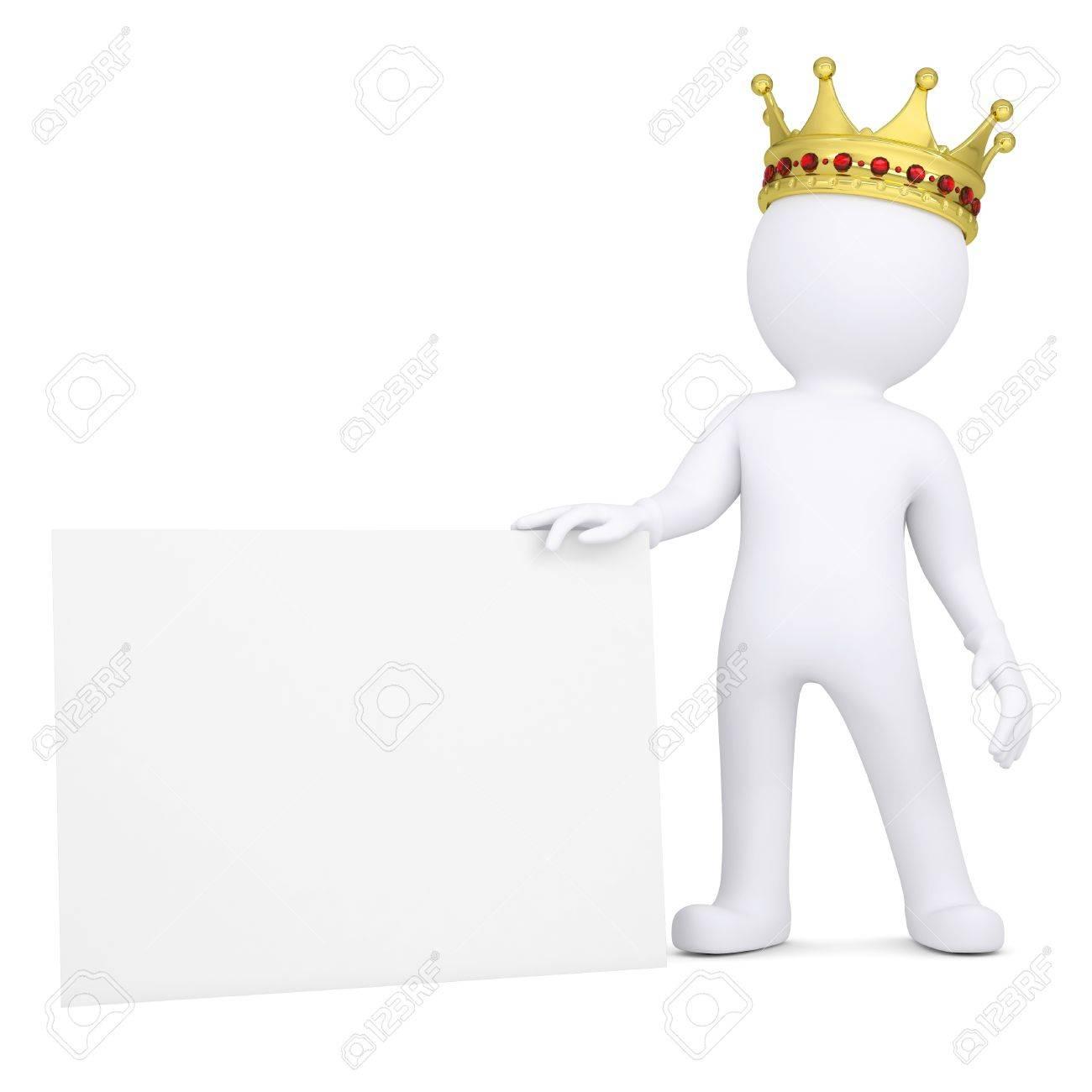3d Homme Blanc Avec Une Couronne Tenant Carte De Visite Isole Rendre Sur Un