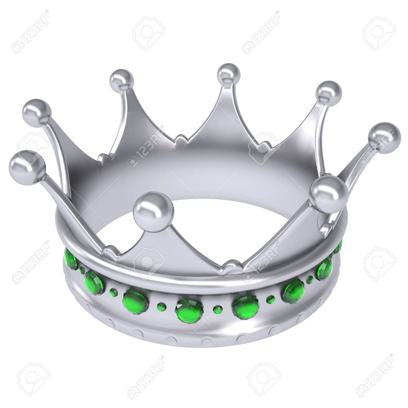 Silver crown decorated with green sapphires Isolated render