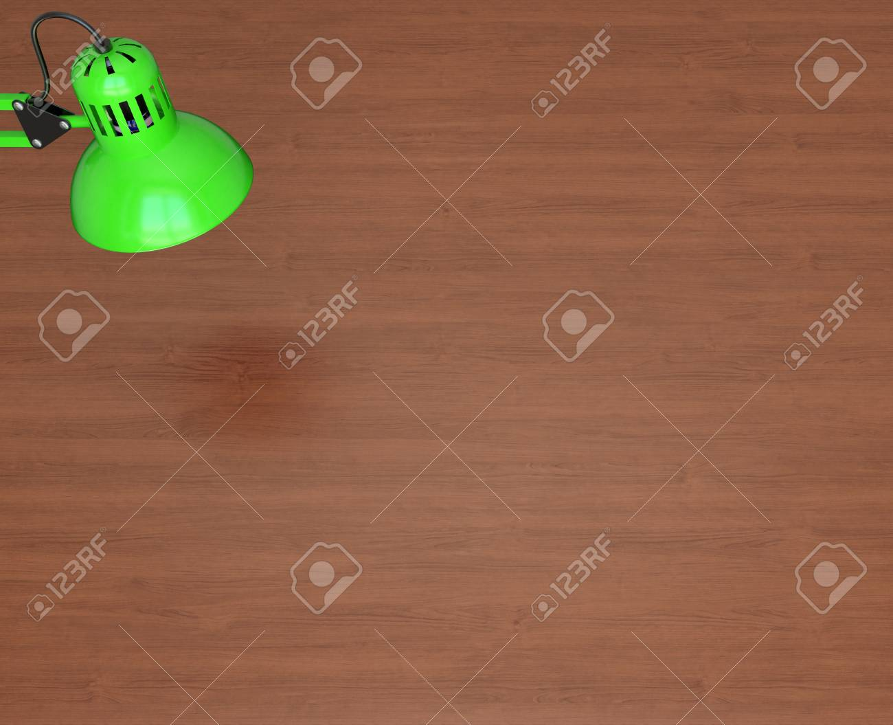 Desktop Surface And Green Lamp 3d Render Stock Photo, Picture And ...