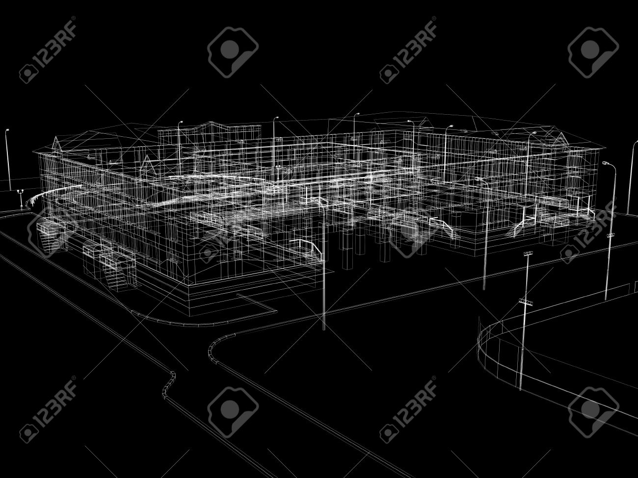 Abstract archticture  Wire-frame render on black background Stock Photo - 21442092