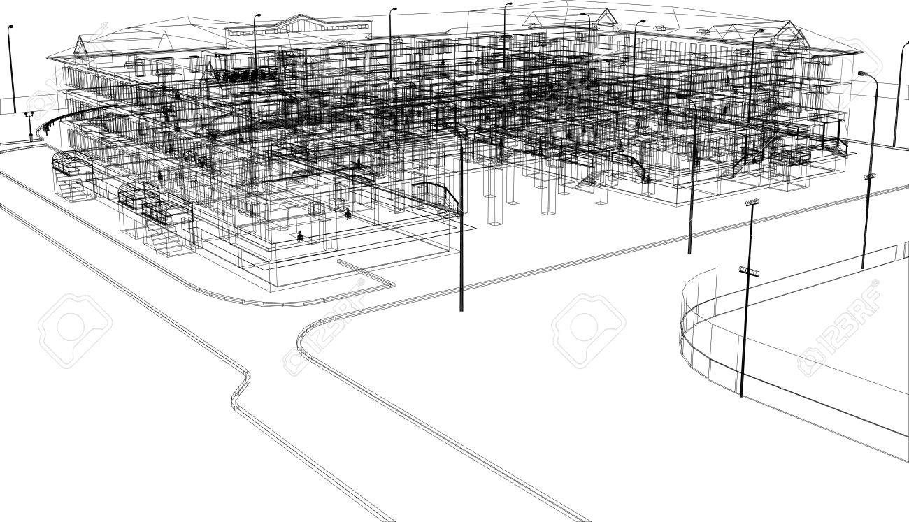 Abstract Architecture Wire-frame Building On The White Background ...
