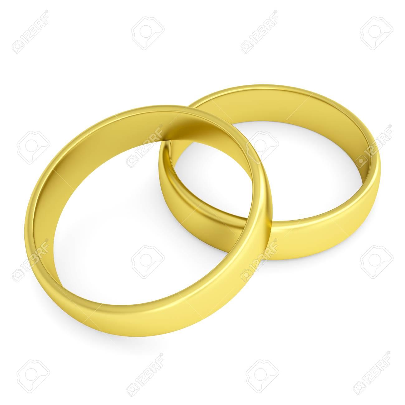Zwei Goldene Hochzeit Ringe Isoliert Render Auf Weissem Hintergrund