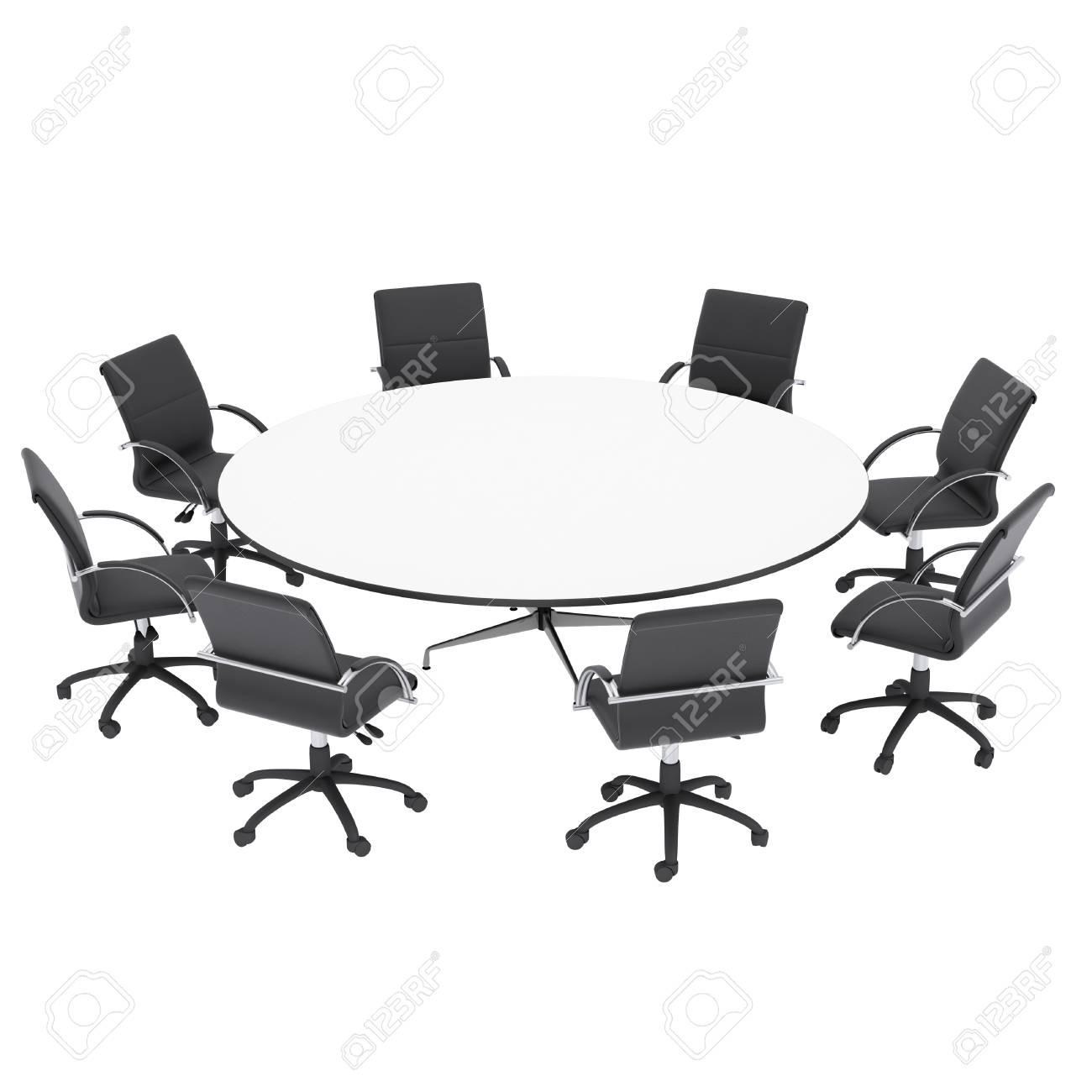 Les Chaises De Bureau Et Table Ronde Isol Rendre Sur Un Fond Blanc