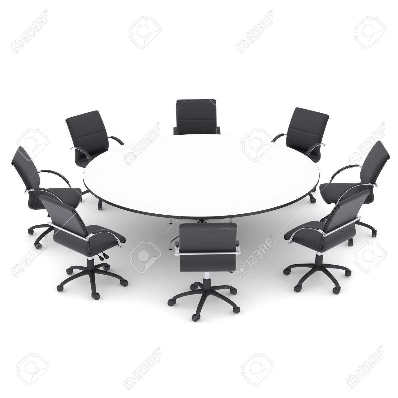 Les Chaises De Bureau Et Table Ronde Isole Rendre Sur Un Fond Blanc