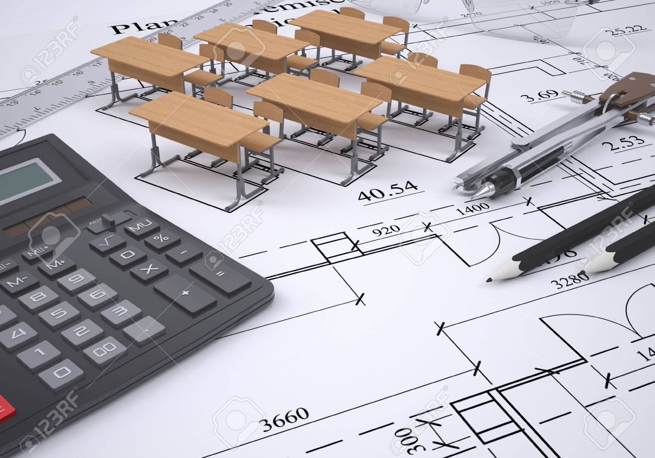 Drawing of the arrangement of furniture and tools engineer 3d render Stock  Photo - 22740919