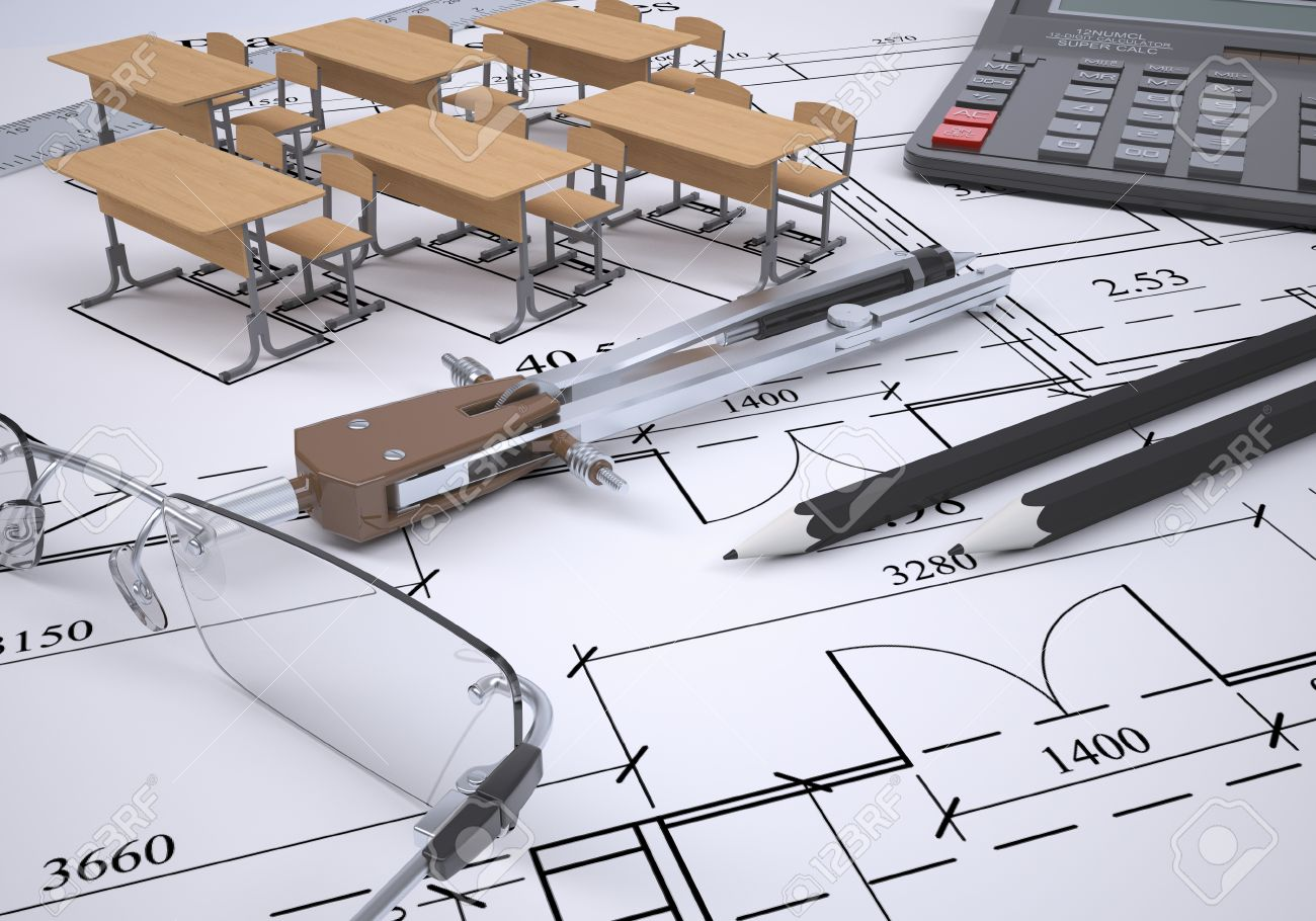 Drawing of the arrangement of furniture and tools engineer 3d render Stock  Photo - 22740922