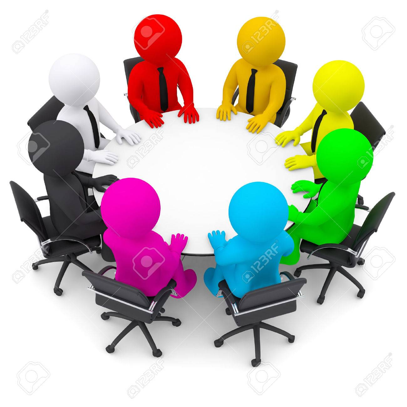 Multicolored People Sitting At A Round Table Isolated Render - Round table clip art